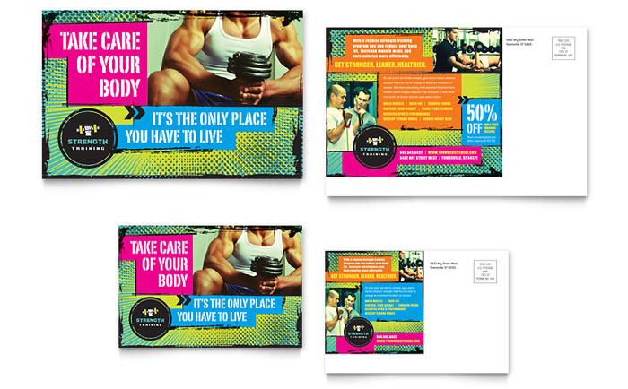 strength and conditioning templates - strength training postcard template word publisher