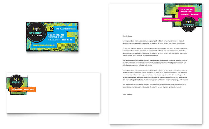 Strength Training Business Card & Letterhead Template Download - Word & Publisher - Microsoft Office