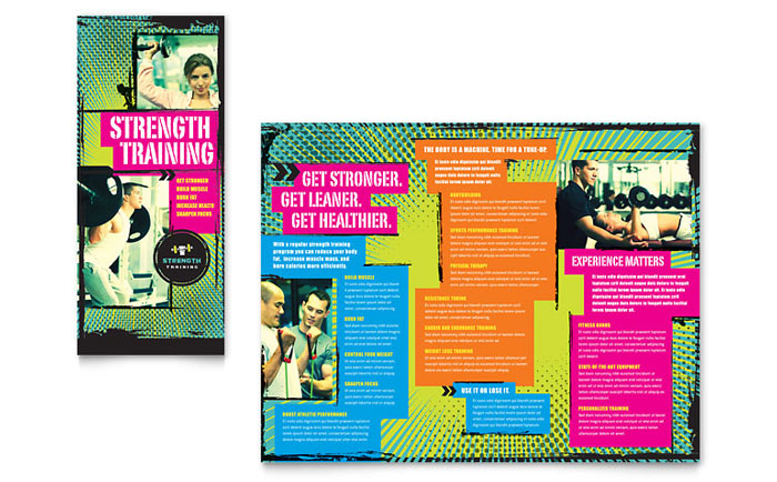 Strength Training Tri Fold Brochure Template  Word  Publisher