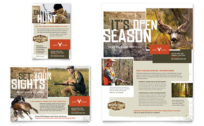 hunting guide flyer  u0026 ad template
