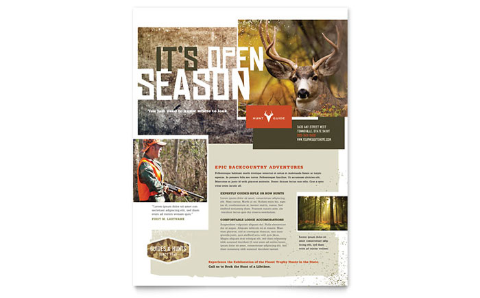 Hunting Guide Flyer Template Download - Word & Publisher - Microsoft Office