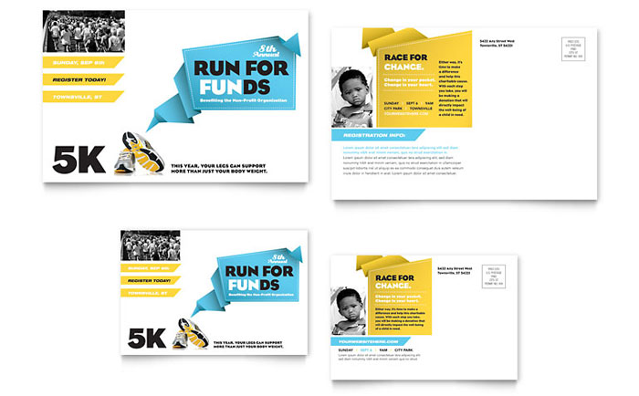 Charity Run Postcard Template Word Publisher - Event postcard template