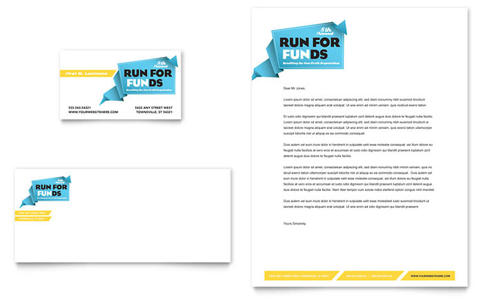 Charity Run Business Card & Letterhead Template - Word & Publisher