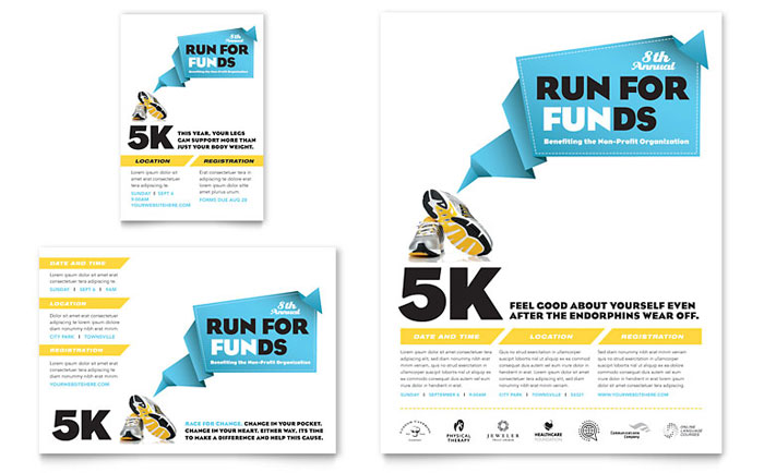 charity run flyer ad template word publisher