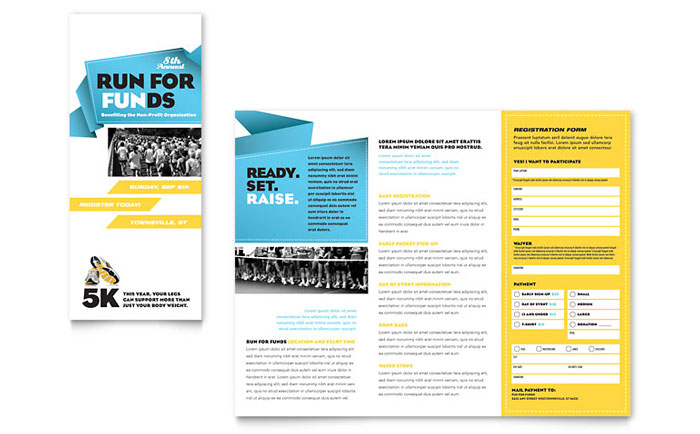 Charity run tri fold brochure template word publisher for Publisher template brochure