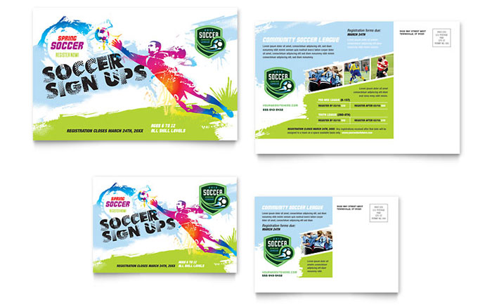 Youth Soccer Postcard Template  Word  Publisher