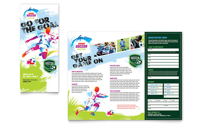 Youth soccer tri fold brochure template word publisher for Word brochure template tri fold
