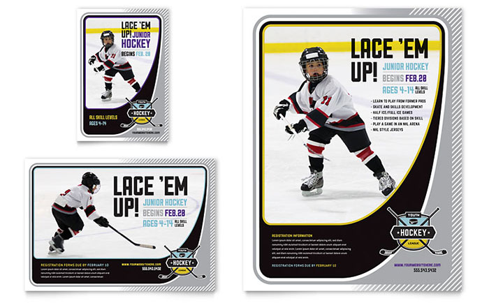 junior hockey camp flyer  u0026 ad template
