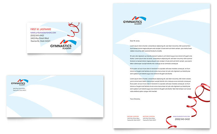 Gymnastics Academy Business Card & Letterhead Template Download - Word & Publisher - Microsoft Office