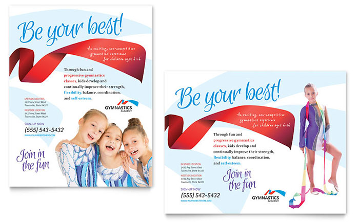 Gymnastics Academy Poster Template - Word & Publisher