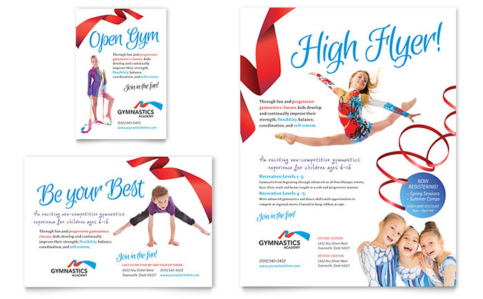 Gymnastics Academy Flyer & Ad Template - Word & Publisher