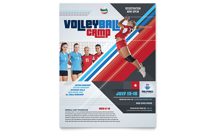 Volleyball Camp Flyer Template - Word & Publisher