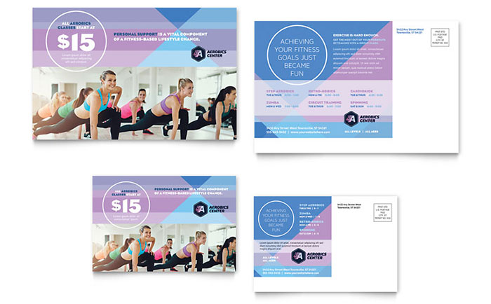 Aerobics Center Postcard Template Download - Word & Publisher - Microsoft Office
