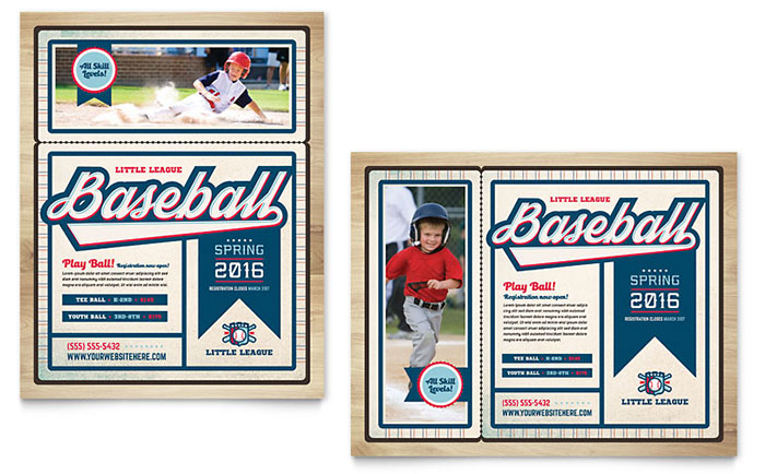 Baseball League Poster Template - Word & Publisher