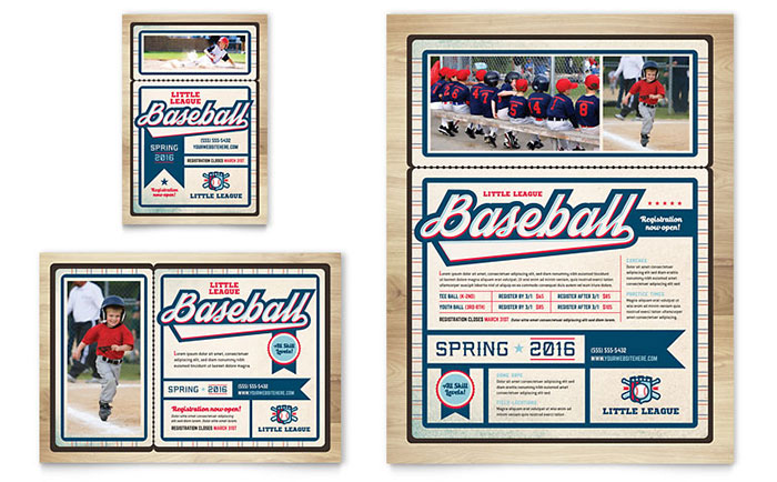 Baseball League Flyer & Ad Template - Word & Publisher