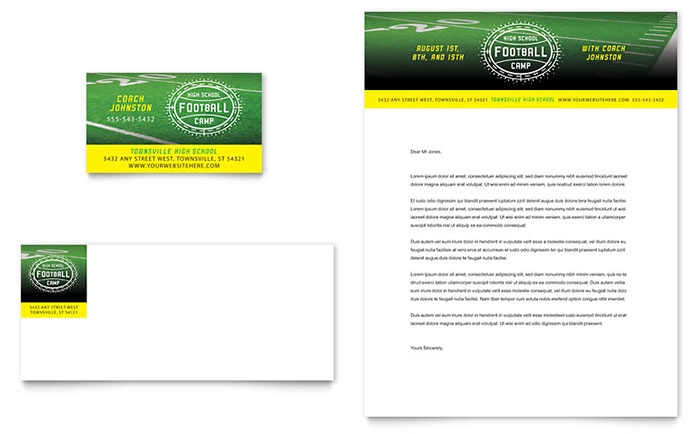 Football Training Business Card & Letterhead Template - Word & Publisher