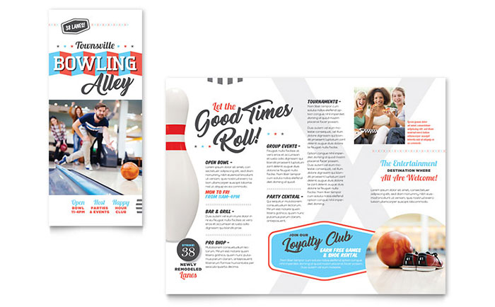 Bowling Brochure Template Word Amp Publisher