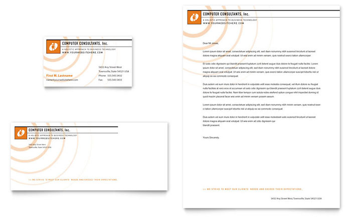 Computer Consulting Company Business Card & Letterhead Template - Word & Publisher