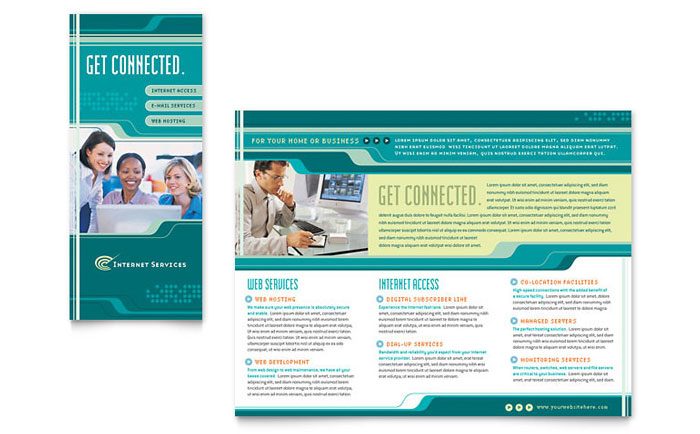 Internet service provider brochure template word publisher for It service catalogue template
