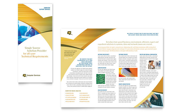Computer services consulting tri fold brochure template for Tri folded brochure templates