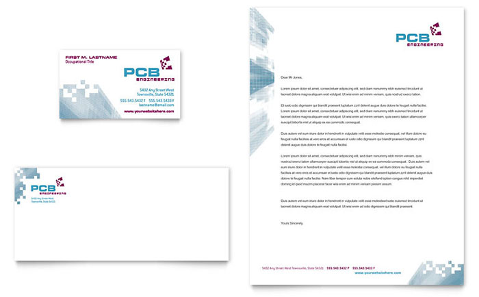 High-Tech Manufacturing Business Card & Letterhead Template Download - Word & Publisher - Microsoft Office