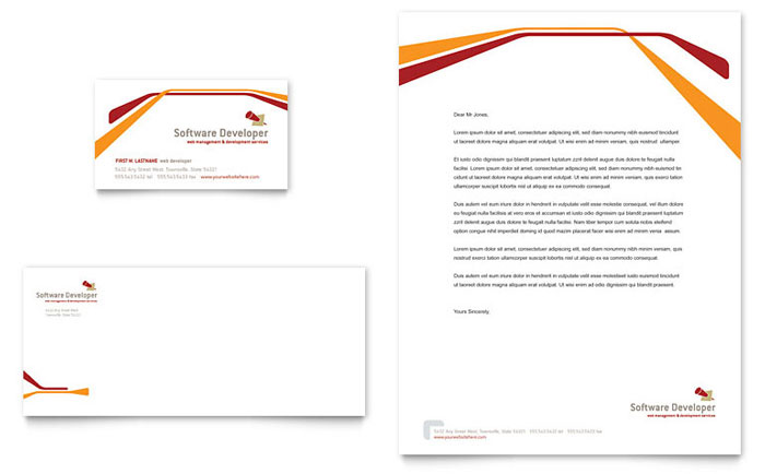 Software Developer Business Card  Letterhead Template  Word