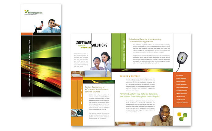 Internet software brochure template word publisher for Software for designing brochures
