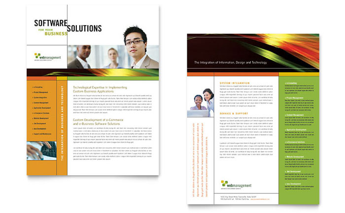 Internet Software Datasheet Template  Word  Publisher