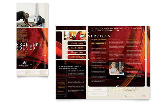 Computer Repair Brochure Template Word Amp Publisher