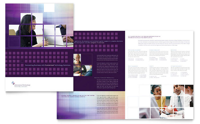 Information Technology Brochure Template  Word  Publisher