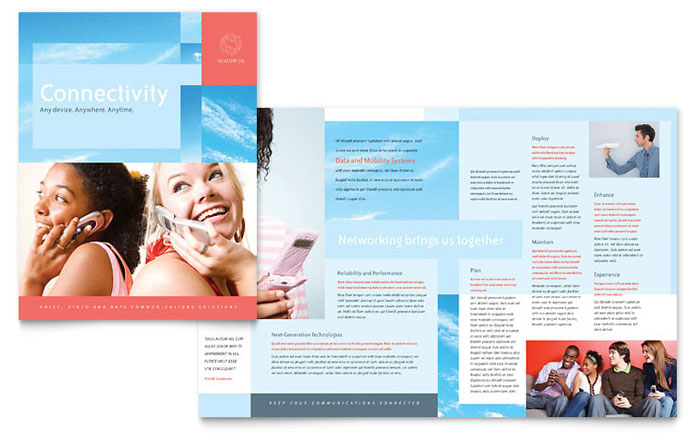 Communications Company Brochure Template - Word & Publisher
