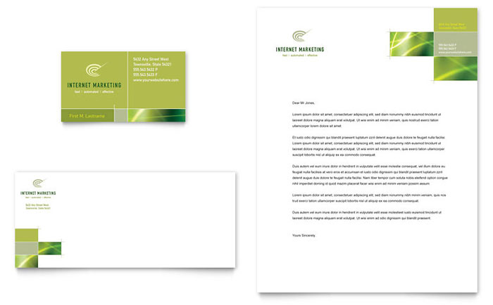 Internet Marketing Business Card & Letterhead Template - Word & Publisher
