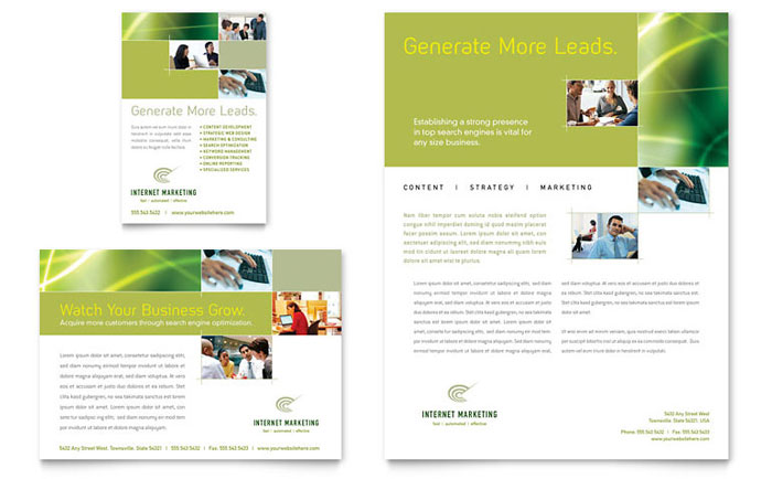 Internet marketing flyer ad template word publisher for Marketing brochure templates free
