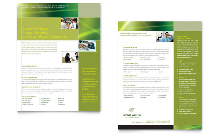 Internet Marketing Datasheet Template - Word & Publisher