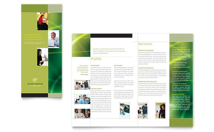 Internet marketing tri fold brochure template word for Marketing brochures templates