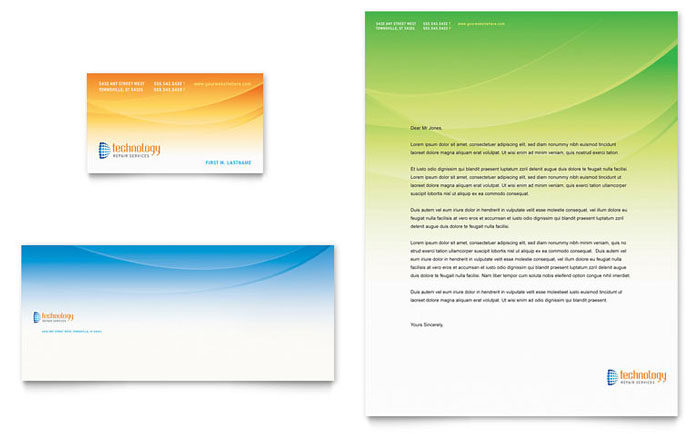 Computer IT Services Business Card Letterhead Template Word - Business card template indesign