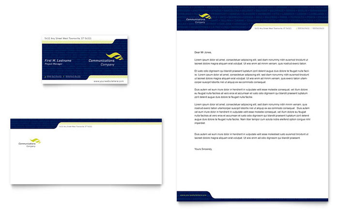 Company letterhead template teal yellow gradient border global communications company business card letterhead template accmission Images