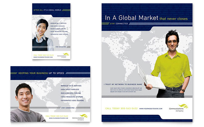 global communications company flyer amp ad template word