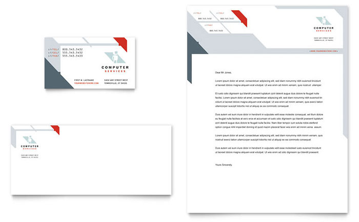 Computer Solutions Business Card & Letterhead Template - Word & Publisher