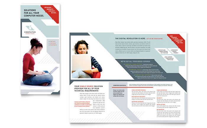 Computer Solutions Tri Fold Brochure Template  Word  Publisher