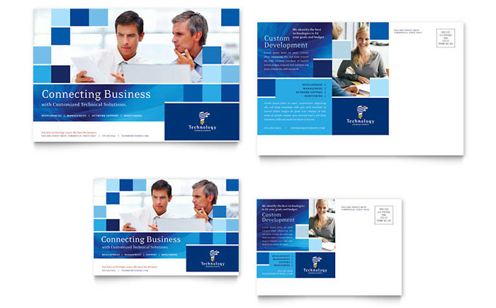 Technology consulting it postcard template word publisher cheaphphosting Image collections