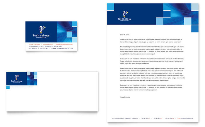 Technology Consulting It Business Card Letterhead Template