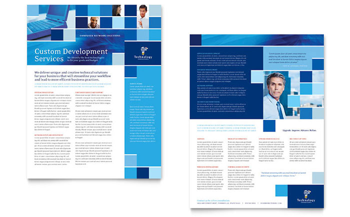 Technology consulting it datasheet template word for Product brochure template word
