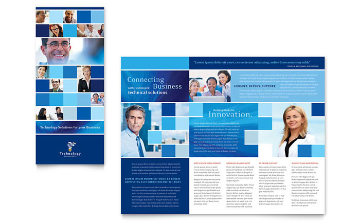 microsoft publisher catalog templates - technology consulting it tri fold brochure template