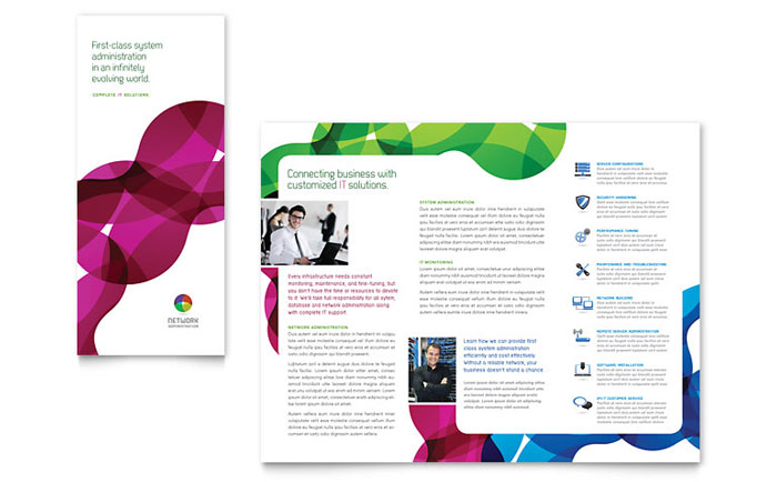 Network Administration Tri Fold Brochure Template Word Publisher - Publisher tri fold brochure templates free