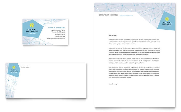 Global Network Services Business Card & Letterhead Template - Word & Publisher