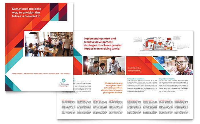 Application software developer brochure template word for Microsoft templates brochures