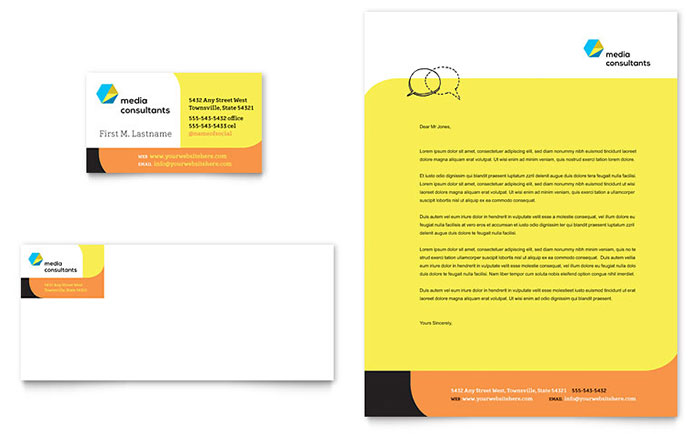 Social Media Consultant Business Card & Letterhead Template Download - Word & Publisher - Microsoft Office