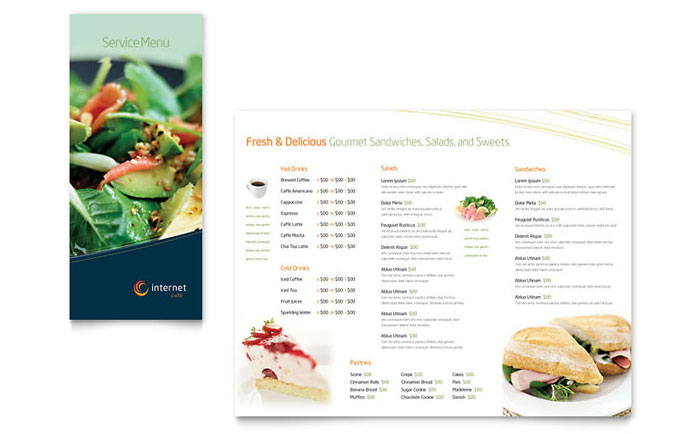 Free restaurant menu template download word publisher for Menu brochure template word