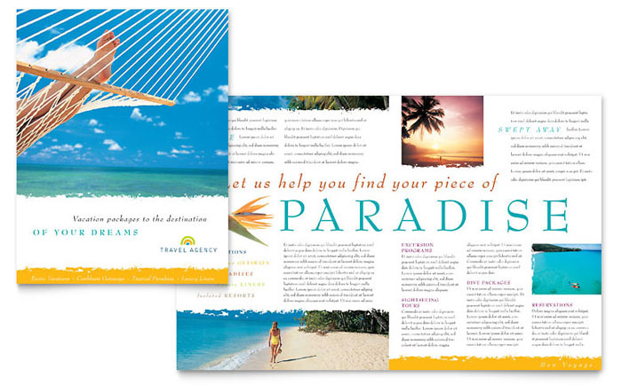 Travel Agency Brochure Template Word Publisher - Tourism flyer template